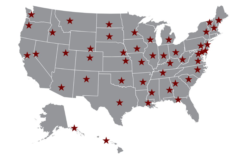 Map of USA with state capitals marked